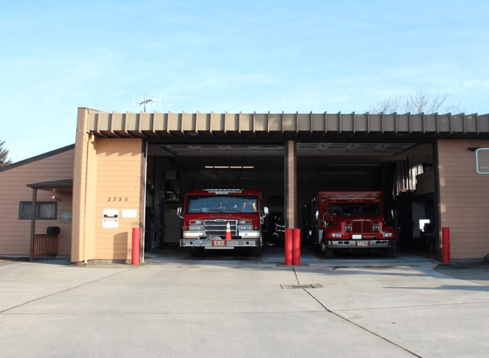 Front of Station 82 showing engine 82 and Medic 82 in the bays.
