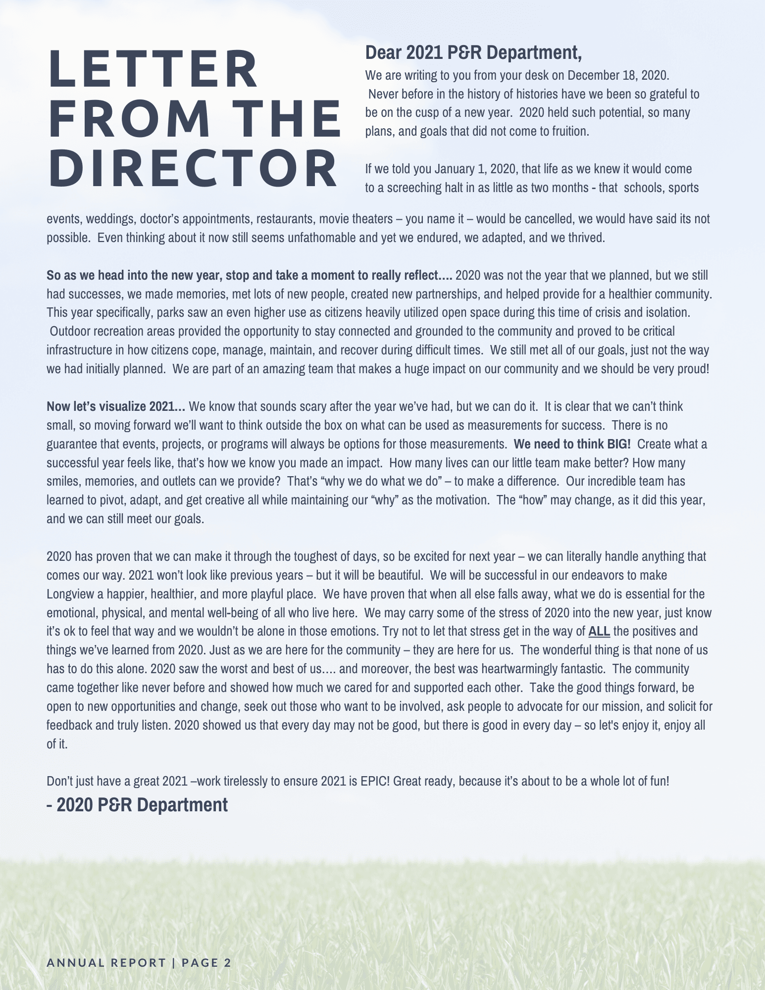 Letter from the Director Image