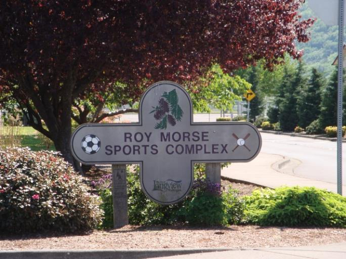 Cross-Shaped Sign Reading Roy Morse Sports Complex